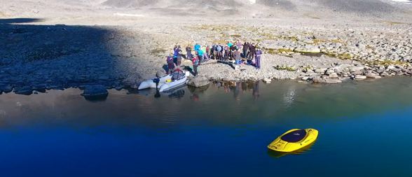 Picture from the film on bathymetry mapping in Tarfala Lake.