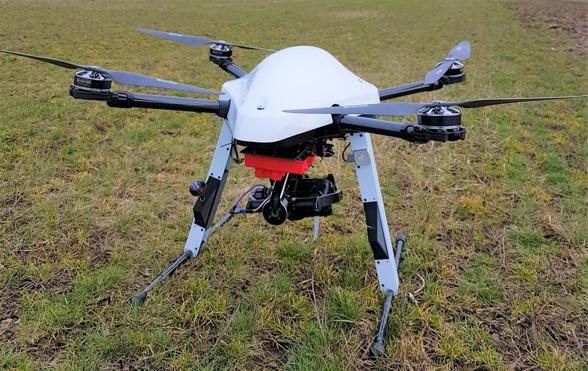 Fig. 6. The Explorian 8 UAV. Photo by Ximena Tagle.