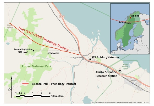 Map of the Fries Phenology Transect along Nuolja.