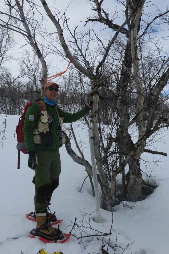 Keith Larson standing in the footsteps of Thore C. E. Fries. Photo by Sieglinde Kundisch