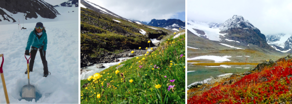 The project spanning spring, summer and autumn. Left to right: Aliyah Debbonaire shows deep (50-80 cm) snow in early July; summer flowers line the route out of the Tarfala Valley at the end of July; and autumn colors flood the valley floor with dustings of snow on the summits in early September.