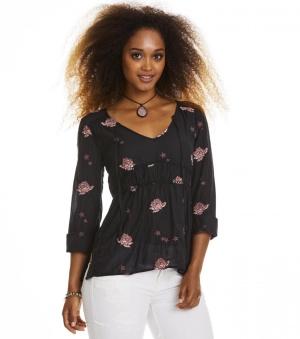 Refrain l/s Blouse - Refrain blouse black 1