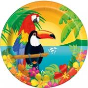 Papperstallrikar Tropical luau 21,9cm 8p 20kr