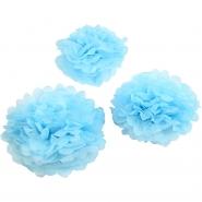 Pompom Ljusblå 3st  20,24,30cm 44kr