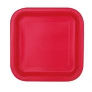 Papperstallrikar 17,4cm fyrkant 16p Ruby red 26kr
