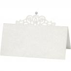 Placeringskort stl.10,7x5,4cm 230g Råvit pearl med sten 10st 64kr