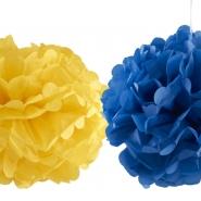 Pompom gul eller blå 40cm 42kr