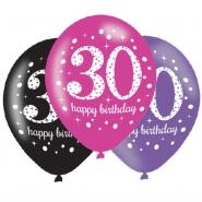 Ballonger 27,5cm 6st Pink celebration 30år 25kr