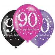 Ballonger 27,5cm 6st Pink celebration 90år 25kr