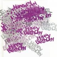 Konfetti silver,rosa Happy birthday 12kr