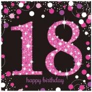 Servetter 2-lags 16p Pink celebration 18år 34kr