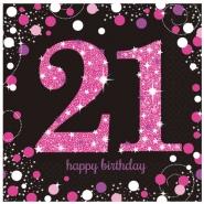 Servetter 2-lags 16p Pink celebration 21år 34kr