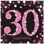 Servetter 2-lags 16p Pink celebration 30år 34kr