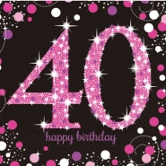 Servetter 2-lags 16p Pink celebration 40år 34kr