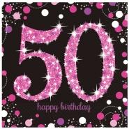 Servetter 2-lags 16p Pink celebration 50år 34kr