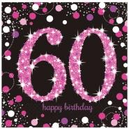 Servetter 2-lags 16p Pink celebration 60år 34kr