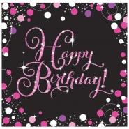 Servetter 2-lags 16p Pink celebration Happy birthday 34kr