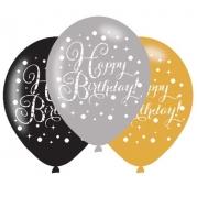 Ballonger 27,5cm 6st gold celebration Happy birthday 25kr
