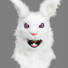 BESTÄLLNINGSVARA Deluxe (rörlig käke) animal mask white rabbit 929kr