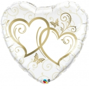 Folieballong 91cm Gold entwined hearts 69kr