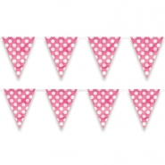 Flag banner av plast dots hot pink 3,65m 18kr