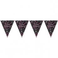 Flag banner 3,9m Pink celebration Happy birthday 29kr