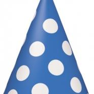 Partyhattar dots blå 8st 20kr