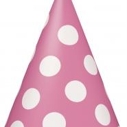 Partyhattar dots rosa 8st 20kr