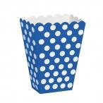 Popcornbox dots blå 8st 22kr
