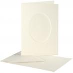 Passepartoutkort med kuvert, kortstl. 10,5x15 cm, hålstl. 6,5x8,8 cm, off-white, oval, 10set 55kr