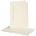 Passepartoutkort med kuvert, kortstl. 10,5x15 cm, hålstl. 6,5x8,8 cm, off-white, rektangulär, 10set 55kr