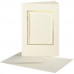 Passepartoutkort, kortstl. 10,5x15 cm, hålstl. 6,5x8,8 cm, off-white, rektangulära med guldkant, 10set 55kr