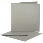 Pärlemorskort, kortstl. 12,5x12,5 cm, kuvertstl. 13x13 cm, silver, 10set 55kr