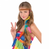 Hippie headband leather, fethers & beads 39kr