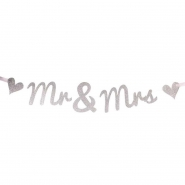 Banner 14x70cm  Mr and Mrs silver glitter 69kr