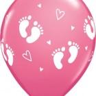 Ballonger 27,5cm 6st babyfötter rosa 28kr