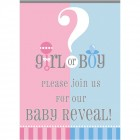 Inbjudan baby reaveal party 8p 19kr