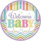 Papperstallrikar 26,7cm 18p welcome baby 87kr