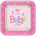 Papperstallrikar 26cm 8p welcome baby girl 39kr