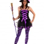 Costume adult purple witch with lace 159kr