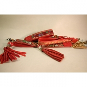 Skinnhalsband Röd - Dekorband med tofs