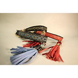 Skinnhalsband Svart - Dekorband med tofs - 17 cm