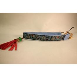 Skinnhalsband Ljusblå- Dekorband med tofs - 17 cm