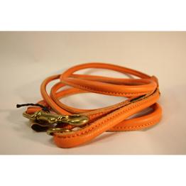 Läderkoppel Rundsytt - Orange - 1,5m