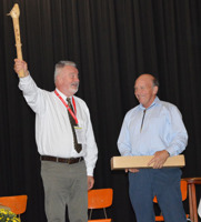 Istvan Marton is presented the hammer for the next European Conference in Hungary 2018.
