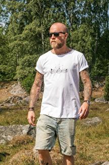 Vit t-shirt, sharkbuddys - XS