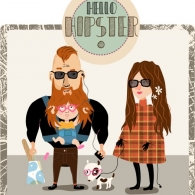 Hipster dad Vector.