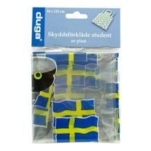Skyddsförkläde transparent med svenska flaggan som motiv. Skyddar studentkläderna.
