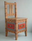 Haychair with colours and decoration inspired by the folk art painting of 1700