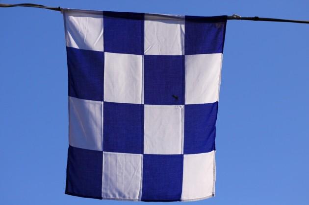 Signalflagga N som man ofta använder idag vid broöppningar. Den betyder nej...